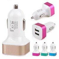 Çift USB bağlantı noktaları 2.1A Metal Araç Şarj Renkli Mikro USB Araç Tak USB Adaptörü iPhone Huawei Android Telefon için