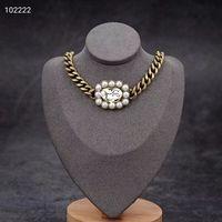 2020 новый стиль ретро кулон ожерелье простой толщиной цепное письмо жемчужное ожерелье диких моды высокого качества ювелирных изделий подарок партия