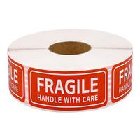 150 / 500pcs Emballage Avertissement Autocollant Poignée fragile avec soins Étiquette d'expédition Autocollants adhésifs 1 Rouler 2.5 * 7.5cm
