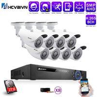 اكتشاف الوجه 8CH 5MP AHD DVR كيت 5 في 1 8 قطع كاميرات في الهواء الطلق نظام cctv كاميرا نظام الأمن IR نظام مراقبة الفيديو
