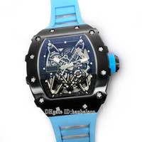 NOUVEAU 35-02 Mens Montres Skeleton Dial Japon Miyota Mouvement automatique Sport Blue Rubber Watch Mechanical Saphir Cristal Montre de Luxe
