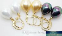 12x16mm South Sea Shell Perlen-Tropfen-Gold überzogene Ohrringe Farbe Optional