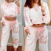 Vêtements pour femmes Casual Set Costume manches longues Tenues Sets Tie Dye Crop Top 2 Piece Set Top et pantalon