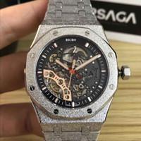Diseñador relojes de esqueleto mecánico de alta calidad, estuche de 41 mm, caja de oro escarchado 316, tallas de mariposa ClaspCustom son aceptables