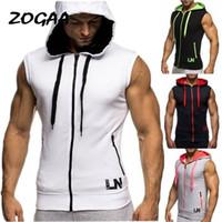 Zogaa Moda Spor Salonları Spor Vücut Geliştirme Kolsuz Kolsuz Hoodie Erkekler Pamuk Bahar antumn Fermuar Kapşonlu Spor Tişörtü