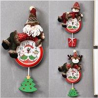 Weihnachten Hanging Clock Weihnachtsmann Schneemann-Weihnachten Hanging Wall Clock Merry Xmas Home Restaurant Schlafzimmer Uhren Dekoration LJJP295