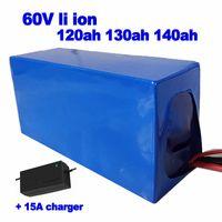 Li ion de 60V 120 Ah 130Ah 140Ah batería de litio 6000w pack para carrito de golf turismo AGV Street Car UPS EV Sweeper + cargador 15A