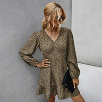 가을 여성 드레스 우아한 외로운 슬리브 프린트 V 넥 캐주얼 A-Line Femme 파티 드레스에 대 한 가장 섹시한 짧은 드레스 빈티지 203037