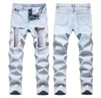 European and American fashion trend men's trousers new light color men jeans hole