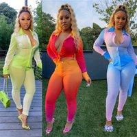 Casaul Degrade Iki Parçalı Set Kadın Eşofman Sonbahar Giyim Düğmesi Kırpma Üst Ve Uzun Pantolon 2 Parça Kıyafetler Zarif Ter Suits