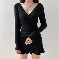 NCLAGEN Autunno 2020 sottile sexy Hepburn Style Small Black Dress increspato scollo a V maniche lunghe vestito casuale Vestdio Vintage Fashion