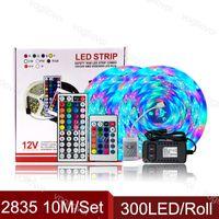 LED ضوء قطاع 10M SMD2835 300leds / لفة DC12V للماء IP65 RGB 24 / 44YS 110-240 فولت 110-240V 3A محول ل كورتيارد بارك بارك بلازا KTV DHL