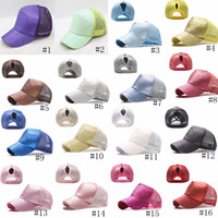 Glitter Baseball Cap High Ponytail Hat Women Snapback Sequin...