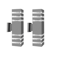 Moderno impermeable de arriba abajo de aluminio Cuboide pared LED luminarias de doble lámpara de pared de la cabeza al aire libre E27 del zócalo de la CA 85-265V CRESTECH