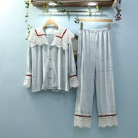 Women's Sleepwear JRMISSLI Womens Pajamas Sets 2021 Woman Plaid Full Sleeve Pants Nightgown Lady Gold Velvet Pyjamas Loungewear