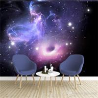 Costumbre estereoscópica 3D Universo Estrellas Galaxy techo Pintura mural de la pared de la sala de KTV dormitorio papel tapiz de fondo murales 3D