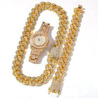 HOT Hiphop 3шт Set Jewelerys, Diamante часы с 20мм шириной кубинским цепочки и ожерелья, стиль хип-хоп звезда моды часы аксессуары