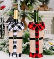 Weihnachten Red Weinflasche Abdeckung Plaid Leinen Wein Taschen Weihnachtsdekorationen Wein-Sets Revers Rote Flaschen-Hüllen-Party Home Decor