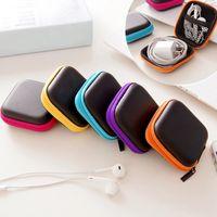 سماعة حالة بو الجلود حقيبة سماعات الأذن البسيطة زيبر سماعة المربع الامني USB كابل منظم الململة سبينر التخزين أكياس 5 اللون YFA2318