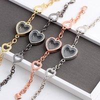 Ghiacciato fuori il cuore di cristallo a forma di Living Memory Locket Catena braccialetto gioielli per gli amanti Floating modo di fascino
