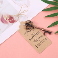 Garrafa 50x Key Vintage Opener + Tag Wedding Party Cartão favores Souvenirs