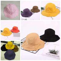 Frauen-Strand-Fischer-Hut Abbindebatik Baumwollnette Fest Farbe Sonnenschutz Cap Female Outdoor Fashion Unisex Freizeit-Wannen-Hüte VT1560