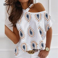 Sexy fuori dalla camicia spalla Halter camicetta manica corta estate delle donne supera Blusa casuale femminile Daisy stampati Camicie Pullover Plus Size