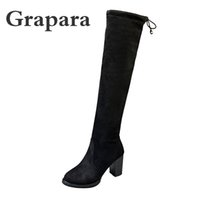 2020 New Fashion Women Boots Woman Sexy Flock Thick High Heels Platform Shoes Slip On Short Plush Knee High Boots Female Grapara