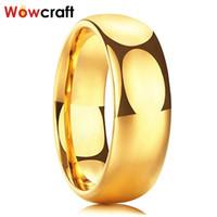 Or en carbure de tungstène anneau de mariage des femmes des hommes de bande Bagues de fiançailles Poli Domed Comfort Fit Gravure personnalisation gratuite