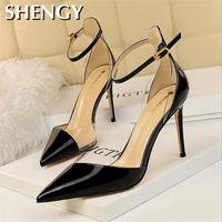 Jurk schoenen verlegen manier exquisite super hoge hak dames sandalen ondiepe mond puntige sexy club holle veldriem vrouwen hakken