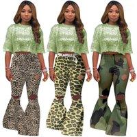 Kleidung Womens Designer Flare Pants Camouflage Leopard-Druck-Loch-Jogginghose mittlere Taille Slim Fit beiläufige Damen