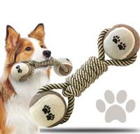 Cuerda de algodón perro de mascota Chew Toy Shape tirón del nudo de bola de hueso admiten Palying dientes para limpiar los juguetes Pequeño Mediano perros grandes