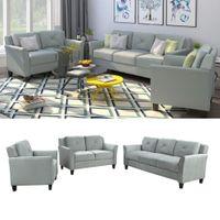 Stati Uniti Stock, U stile del pulsante trapuntato 3 pezzi sedia del loveseat sofà Set Soggiorno Mobili per la casa WY000048EAA