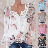 Tops Sommer-Blumendruck Chiffon T-Shirt Frauen-Modedesigner-Langarm-T-Shirts mit V-Ausschnitt Autumn Street