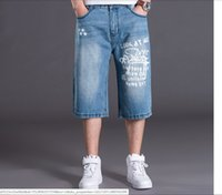 Wholesale-Mens Shorts Plus Size 30-46 100% Cotton Baggy Jeans Shorts Men Leisure Denim Shorts For Big And Tall Men Jogger