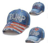 Lo nuevo 2020 Donald Trump Sombrero 3 Estilos Denim Presidente diamante capsula los sombreros de béisbol ajustable del Snapback Mujeres deportes al aire libre del casquillo GD570