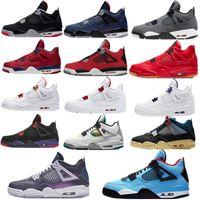 2020 Новый Топ Крем Парус Черный Кот Белый Цемент Мужчины Женщины Jumpman 4 4S Баскетбольные Обувь Кактус Джек Мужские Тренеры Спортивные Обувь Size36-46
