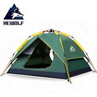 Hewolf палатки кемпинга 3-4 человек Палатки Гидравлический автоматический водонепроницаемый двойной слой палатки Ultralight Открытый Туризм пикника палатки