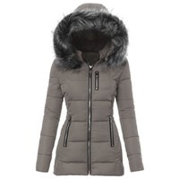 Women's Down & Parkas 2021 Thicken Warm Winter Women Hooded Fur Collar Slilm Jackets Coats Outerwear Solid Plus Size Clothes
