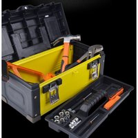 Freeshipping Stainless steel ABS iron portable tool box hardware multi-function Household Maintenance Electrician auto storage tool case