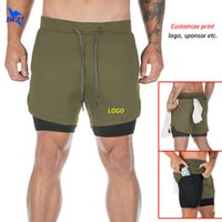 Quick Dry Mens 2 In 1 Running Shorts with Pocket Sport Joggi...