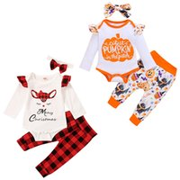Halloween Christmas Kids Clothing Sets Long Sleeve Letters P...