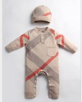 Baby Boys Plaid Romper Filles Enfant Collier rond Collier à manches longues Pull tricoté Jumpseau + chapeau 2pcs Ensembles Nouveau-né Designer design Vêtements A4084