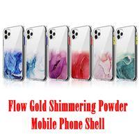 Flow Gold Shimmering Pulver Handy Shell Für iPhone 11 Pro Max Schimmernde Powde Shell Schutzhülle FEMA Für iPhone 12 7 / 8plus