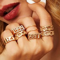 9Pcs Set Ins Fashion Crystal Years Number Ring set for Women Girls Rhinestone Twisted Cuba Chain Silver Gold Rings Set Jewelry
