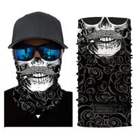 venda quente New crânio Outdoor máscara de bicicleta multi-funcional véu bicicleta mascarar respirável half face lenço de camuflagem transporte livre toalha preta