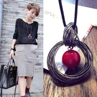 Bicyclic factory outlets exaggerated pearl long sweater chain necklace Korean new arrival women's fashion sweet
