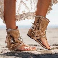 Bohemia Yaz Kadın Sandal Etnik Stil Püsküller Bayanlar Bilek Boots Sandal Ayakkabı Roma Thong Gladyatör Düz Sandalet
