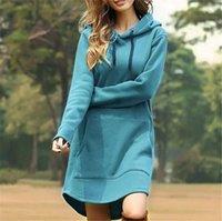 Kvinnors Hoodie Dress Solid Hooded Long Pullover Klänningar med stor Ficka Oversize One Piece Total Blusar Höst Vinter Varm Clothingly8171