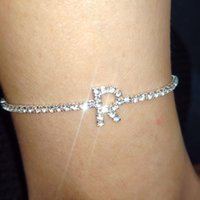 26 Letter Silverplated Women ankle Bracelet Shining Crystal anklet Nice Party Accessories Lover Birthday Gift anklets for women